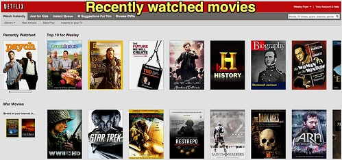 Recently watched movies on Netflix