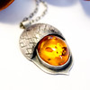 Amber Acorn Necklace Sterling silver and