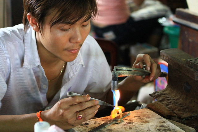 Working with gold in Vientiane, Laos.