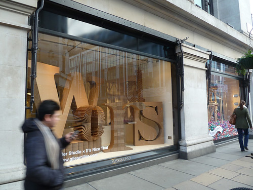Words installation in Selfridges window
