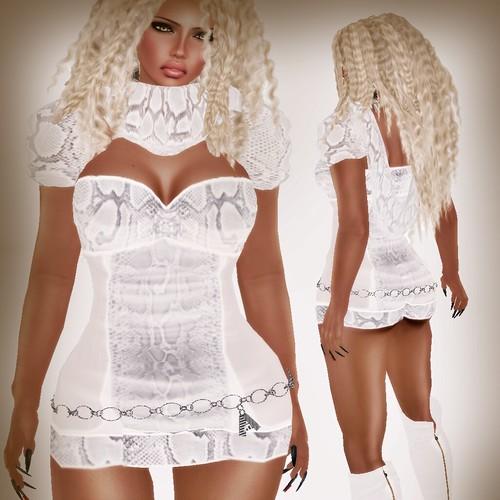 A&A Fashion Snake Dress White