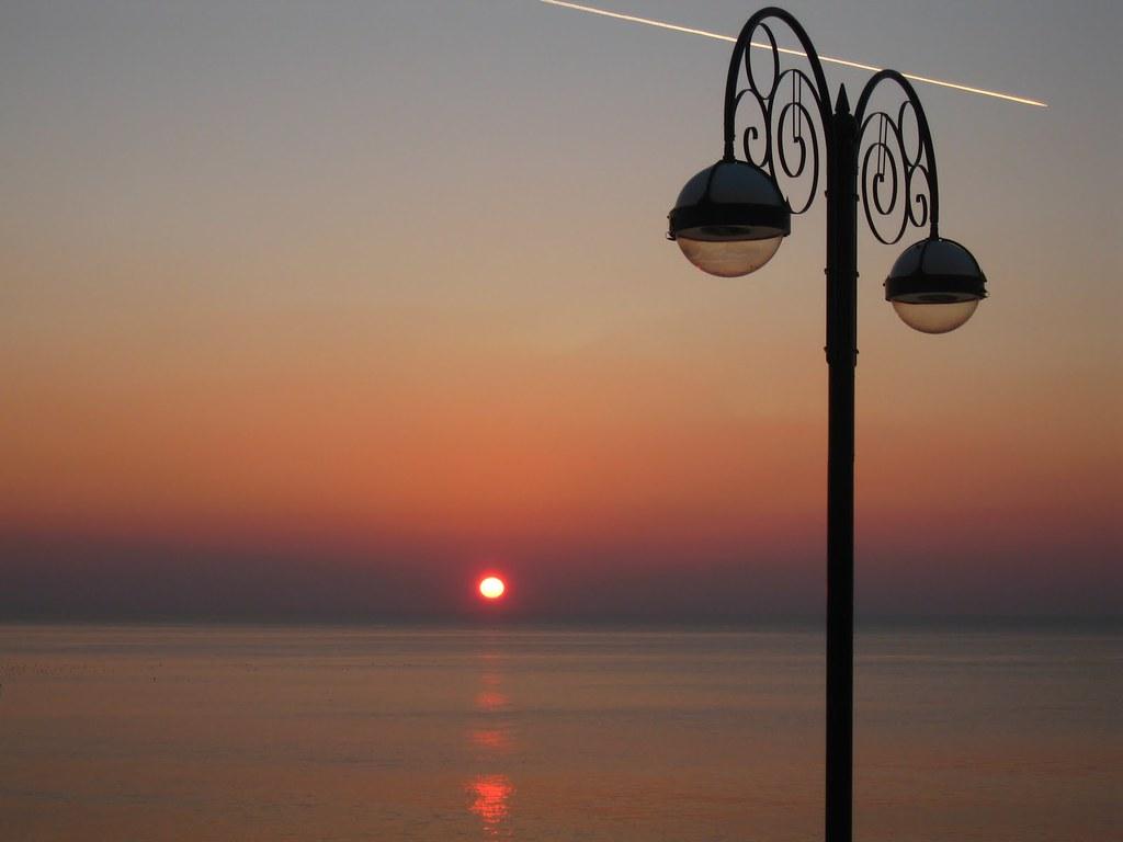 Sun setting on the Promenade, Aberystwyth
