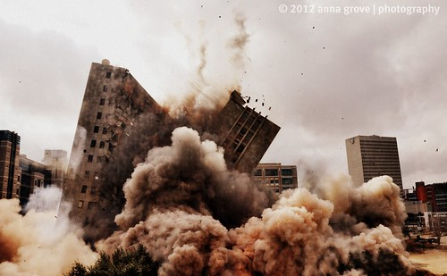 MDACC building Implosion up close and personal