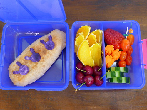 Three Bunnies Meatless Calzone Bento by sherimiya ♥
