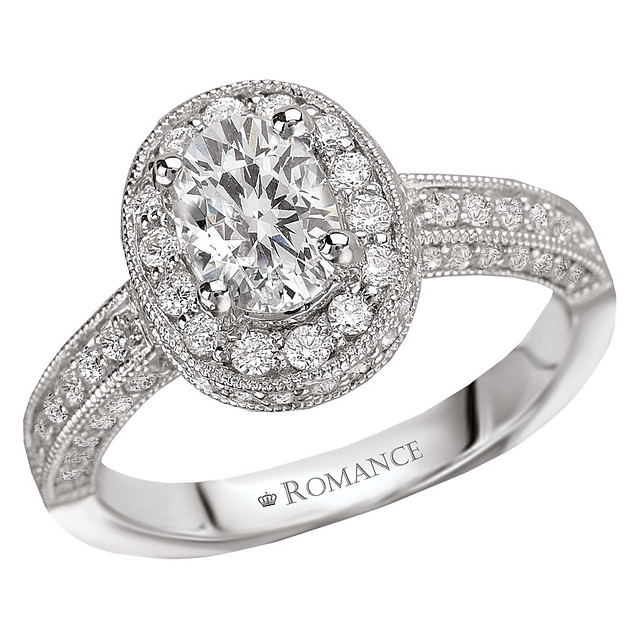 Vintage Oval Halo Diamond Engagement Ring