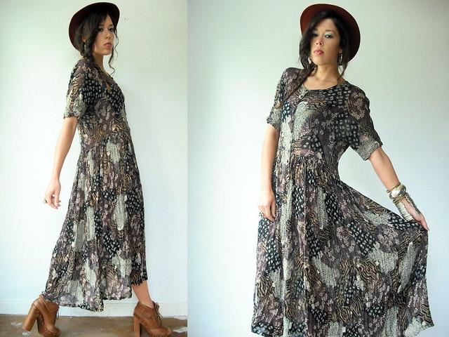 patchwork animal print draped maxi gypsy dress