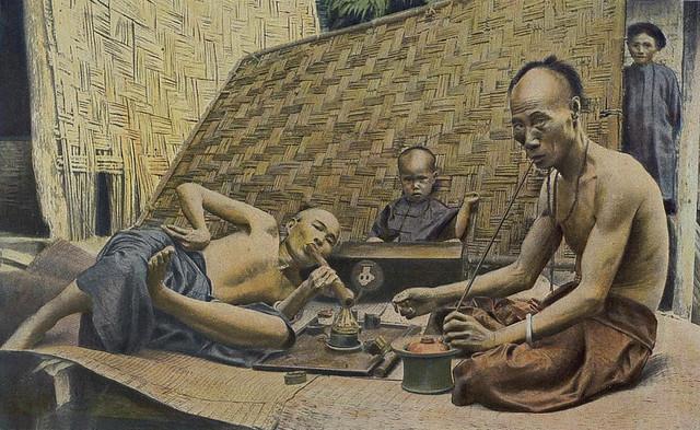 Tonkin - Fumeurs d'opium et de tabac à Hongay