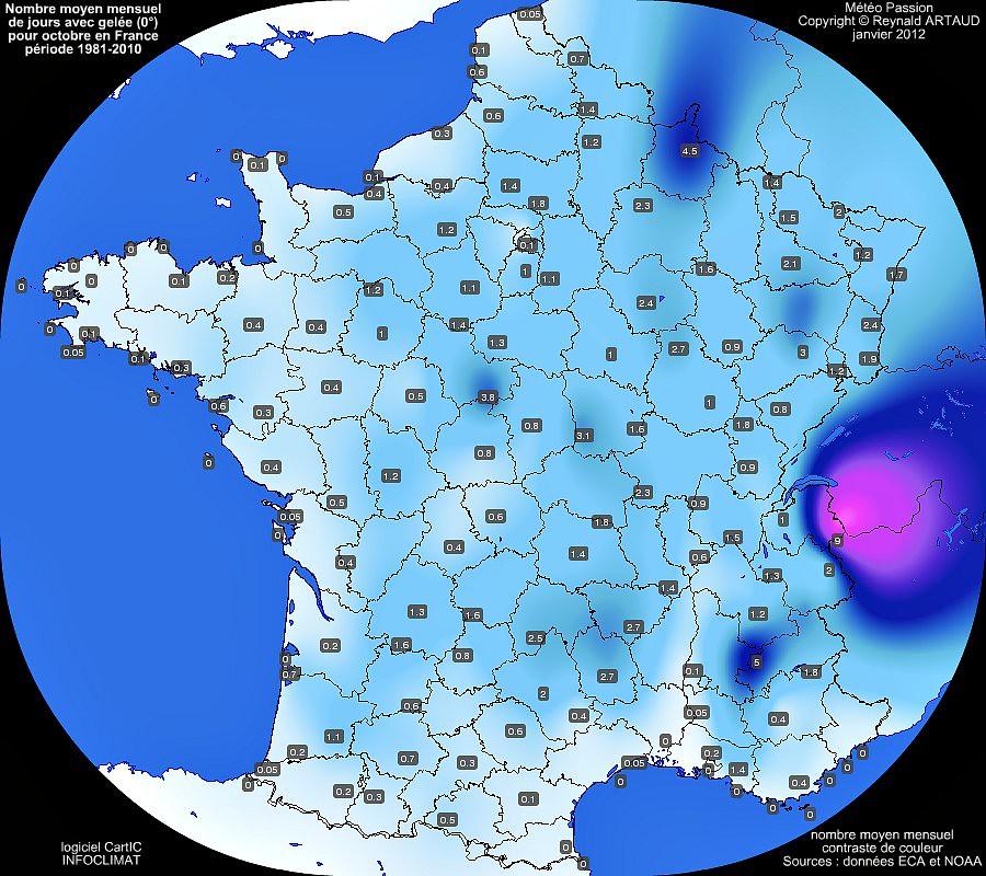 nombre moyen mensuel de jours avec gelée 0° pour le mois d'octobre en France sur la période 1981-2010