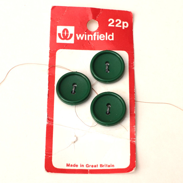 3 vintage dark green buttons – 18mm