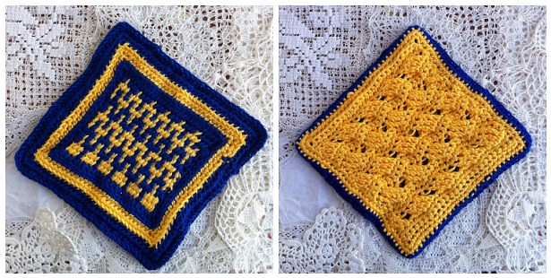 Tunisian & Regular Crochet Swatch Potholder