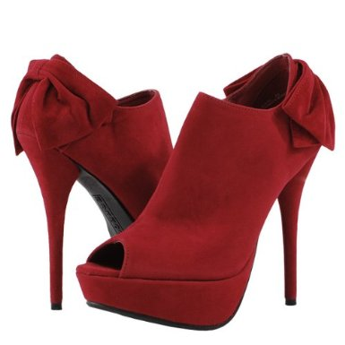 Peep Toe Bright Ankle Boots RED
