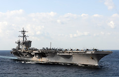 In this file photo, aircraft carrier USS Carl Vinson (CVN 70) transits in the Arabian Gulf, January 21, 2012. Carl Vinson is scheduled to participate in exercise Malabar 2012 with the Indian Navy.