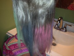 All the colors with her top layer of hair still up