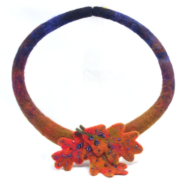 Fall Needle Felted Necklace