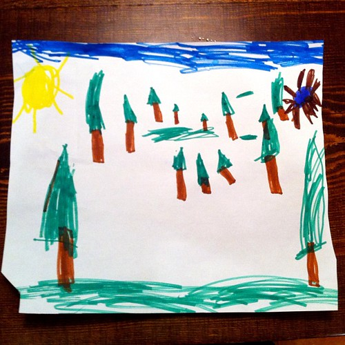 "Emily drew me a picture. Her: ""Do you know what the small trees are? They're the ones that are far away. The pond (upper right) is far away too."" Me: ""Did you learn that at school?"" Her: ""No, I just figured it out."" #depthperception #smartgirl"
