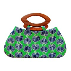 Handbag with Chinese lanterns on grass with handmade wooden handles