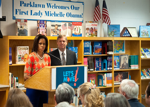 "First Lady Michelle Obama joined Agriculture Secretary Tom Vilsack at Parklawn Elementary School to speak with faculty and parents about the United States Department of Agriculture's new and improved nutrition standards for school lunches. An important accomplishment of the Healthy, Hunger-Free Kids Act that President Obama signed into law last year. Also, in In February 2010, First Lady Michelle Obama introduced ""Let's Move"" incorporating the HealthierUS School Challenge into her campaign to promote a healthier generation of children. USDA is making the first major changes in school meals in over 15 years. The new standards encourage fruits and vegetables every day of the week, increasing offerings of whole grain-rich foods, offering only fat-free or low-fat milk and making sure kids are getting proper portion sizes at the Parklawn Elementary School Alexandria, Virginia, on Wednesday, January 25, 2012.  USDA Photo by Bob Nichols."