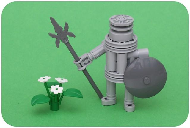 Guerrero atacando una flor