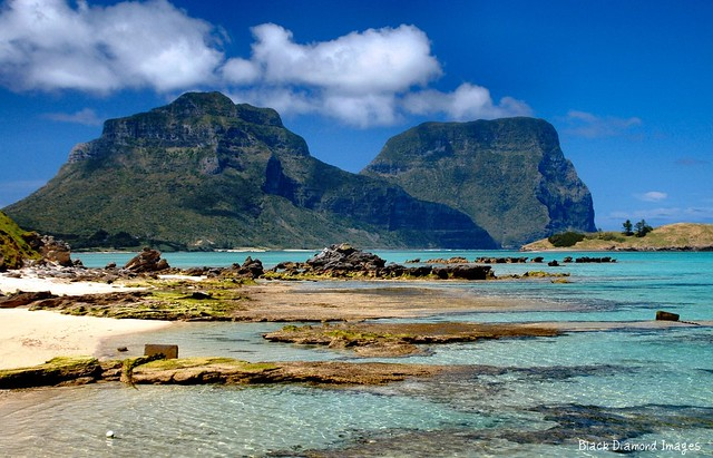 View to Mount Lidgbird and Mount Gower from the Lord Howe Island Wharf, NSW, Australia