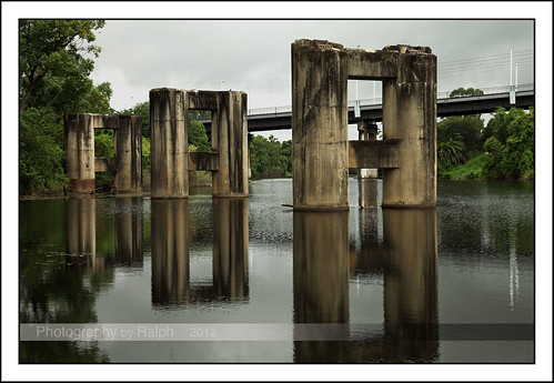 new bridge reflection abandoned wales liverpool river south sydney australia nsw georgesriver morebank