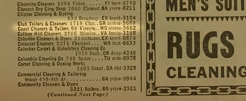 Section from a 1938 San Francisco phonebook