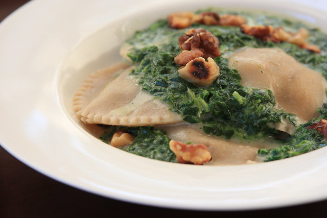 Portabello and Shallot Ravioli with Toasted Walnuts