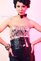 black hair, hairstyle, model, latex clothing, clothing, hair, woman, fashion, photo shoot, lady, pink, dress, corset,