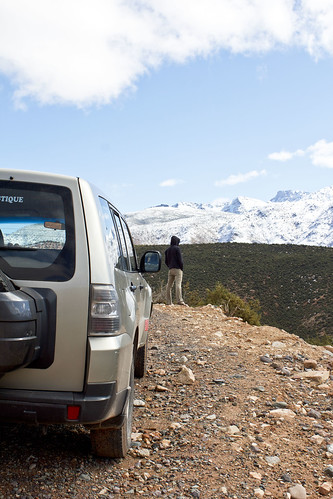 taking in a great view of the snow covered atlas mountains
