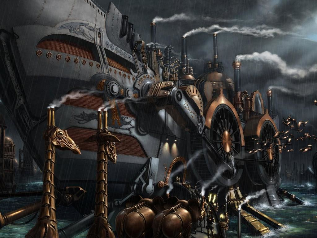 Steampunk cruise ship boat harbor sci fi wallpaper dsng