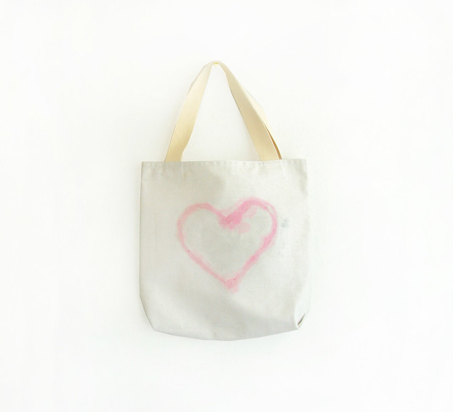 light pink heart tote