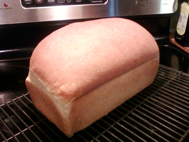 Honey Wheat bread hot out of the oven.