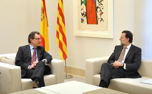 Artur Mas y mariano Rajoy en su primer encuentro en Moncloa