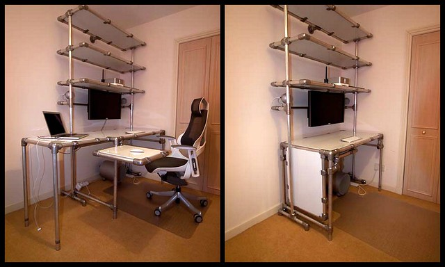 Custom Diy Desk With Swing Outs And Extra Shelving