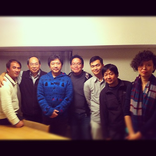 With director Hirokazu Koreeda and my crew. I'm influenced by his works!