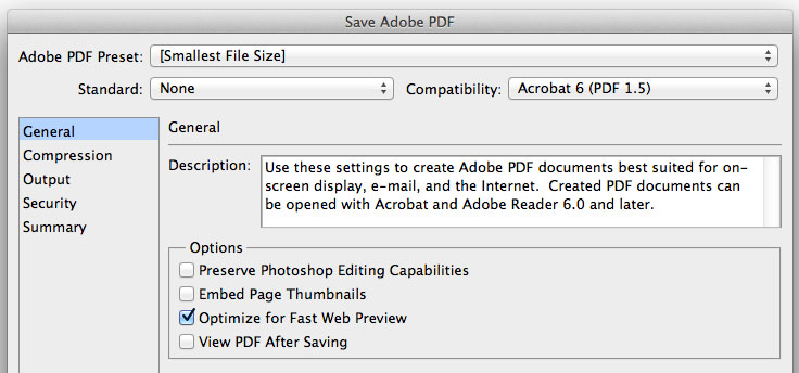 Save Adobe PDF options