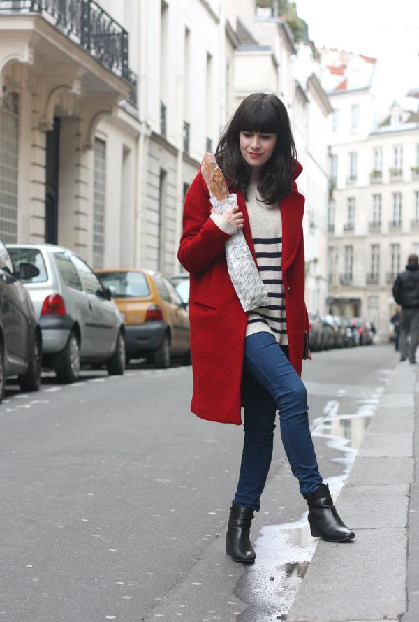 מעיל אדום, בלוג אופנה בפריז, חולצת פסים