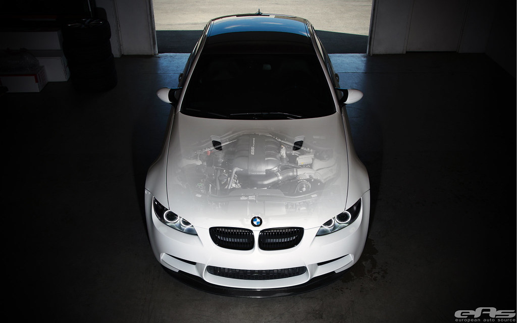 Alpine White BMW E92 M3 - ESS Supercharger Transparent Hood
