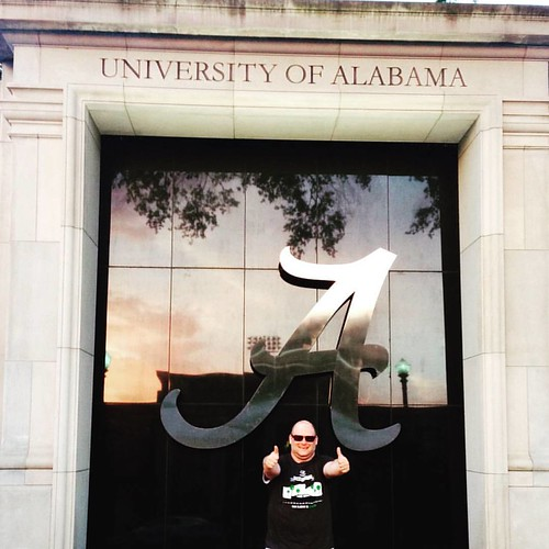 Love the Big A for Alabama at the Roll Tide stadium during the #elantraeco Green Living Guy Donation Book Tour