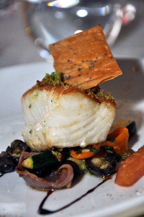 Roasted Atlantic Cod with Basil Crust, Roasted Vegetables
