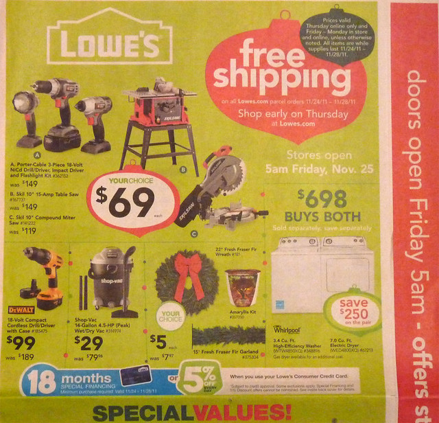 lowe s black friday holiday sales ad 2012 appliances tools home images frompo. Black Bedroom Furniture Sets. Home Design Ideas