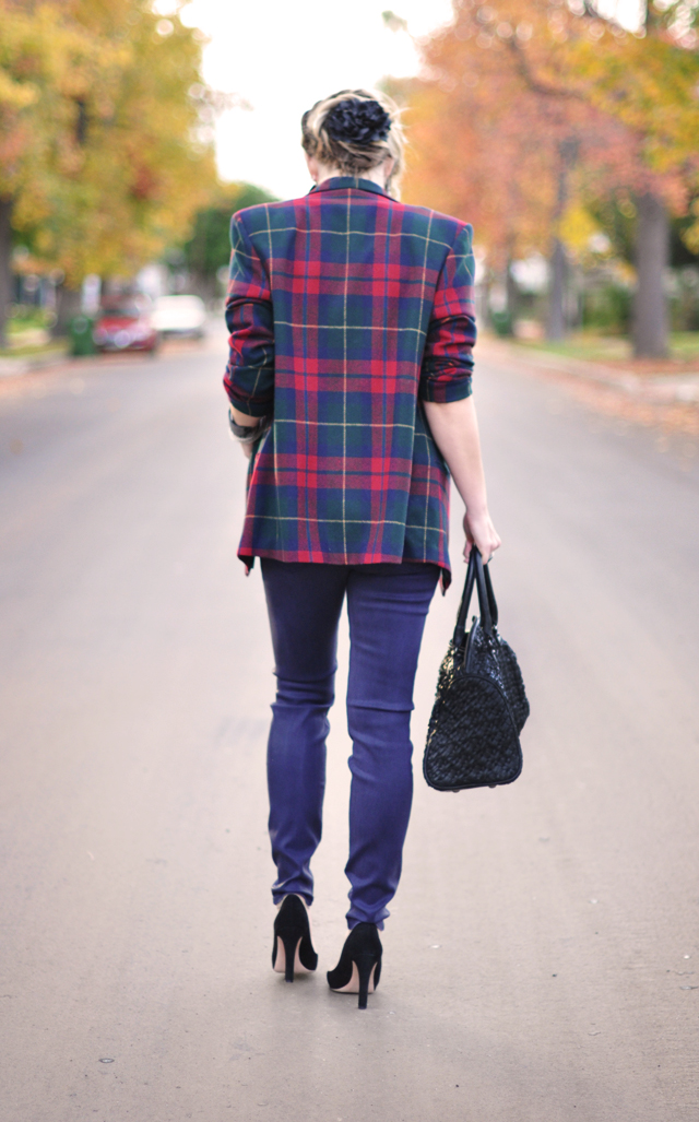 plaid blazer-purple skinny jeans-hudson jeans-black suede pumps