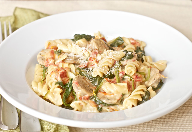 Skillet Penne with Chicken Sausage and Spinach