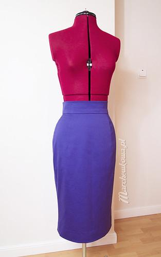 Burda 2-2011-103B (front), marchewkowa, blog, szafiarka, kraiectwo, szycie, DIY, spódnica, retro, vintage, bawełna satynowa