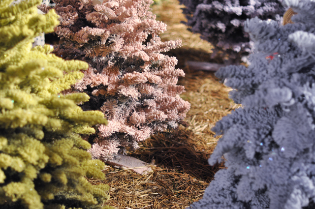 pink christmas tree-lime green christmas tree-frosted trees