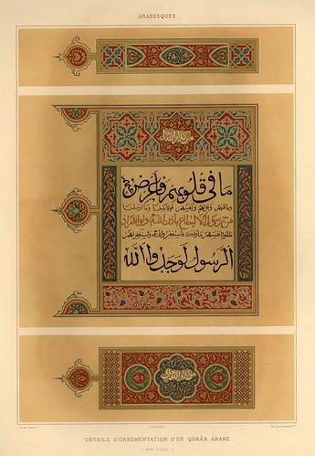 022-Detalles de la ornamentacion de un Coran siglo XVII-L'art arabe d'apres les monuments du Kaire…Vol 3-1877- Achille Prisse d'Avennes y otros.