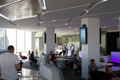 Virgin Australia Melbourne Lounge. Photo looking down from the top level