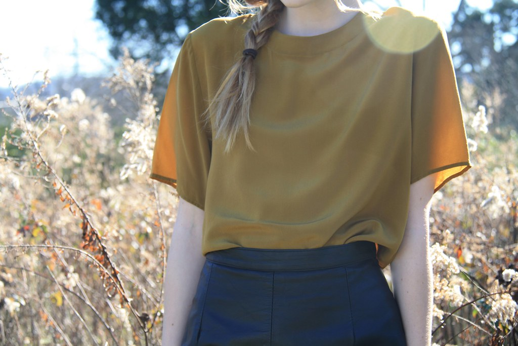 olive silk + black leather