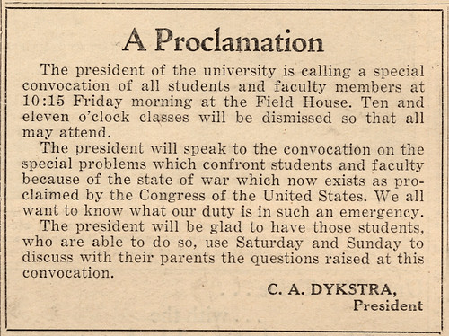 UW War Convocation, 12/12/1941.