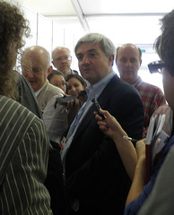 Chris Huhne at a press huddle in Durban