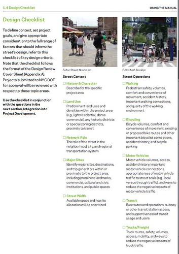 Design Checklist, from NYC Street Design Manual